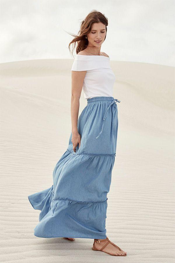 3adc9aa4b9 Lightweight Denim Tiered Maxi Skirt