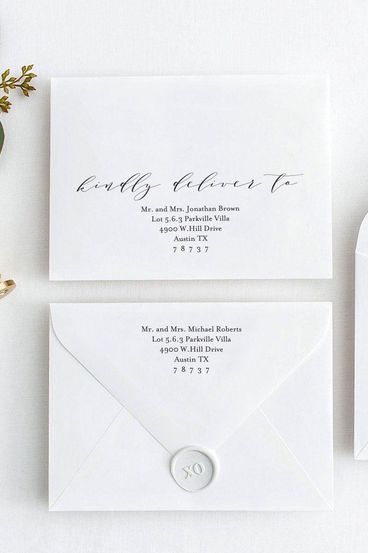 Editable Envelope Template Kindly Deliver To Instant Etsy Wedding Invitation Envelopes Modern Wedding Invitation Wording Printable Wedding Envelopes
