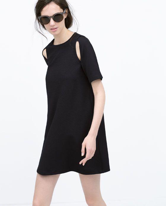 Vestito nero maniche lunghe zara