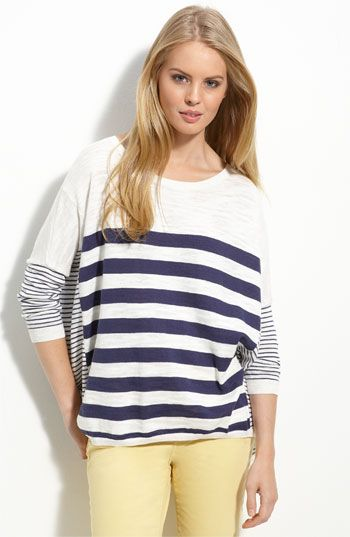 Caslon button back strip sweater in navy.