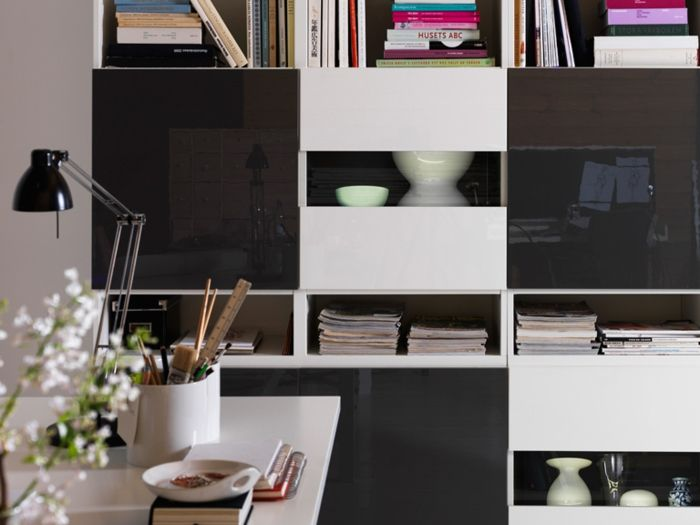 Ikea Wohnwand Besta Modell Weiß Schwarz Hochglanz Fronten