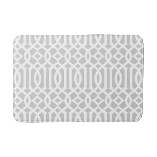 Modern Gray And White Imperial Trellis Bathroom Mat With Images