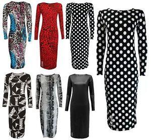 bodycon plus size african print dresses | ... -PLUS-SIZE-LONG-SLEEVE-PRINT-BODYCON-SCOOP-STRETCHY-MIDI-DRESS-8-22