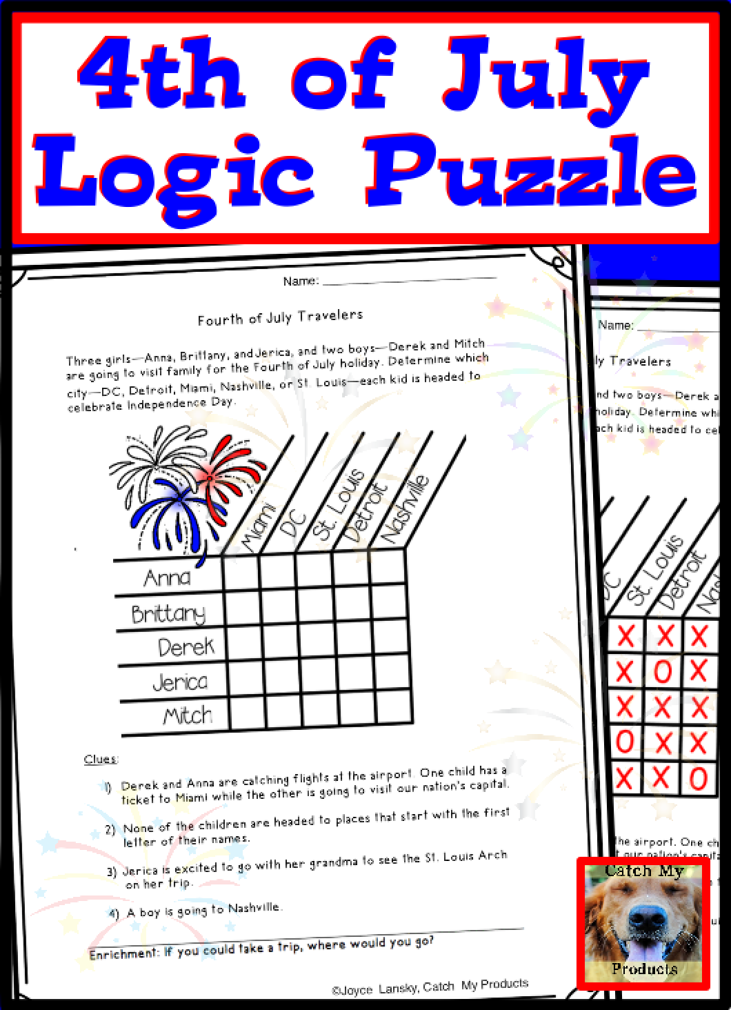 4th of July Worksheet   Printable or Google Doc Ready   Logic puzzles [ 1464 x 1060 Pixel ]