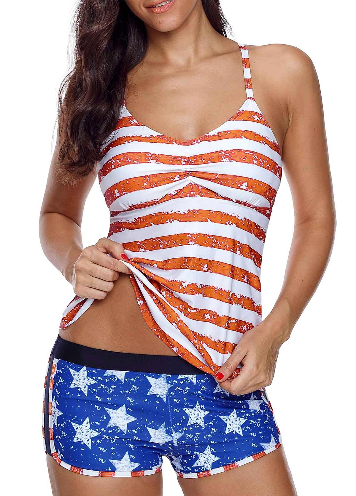 4635d07c71 Cutout Striped Orange Tankini Top and Blue Shorts | Rotita.com - USD $29.28