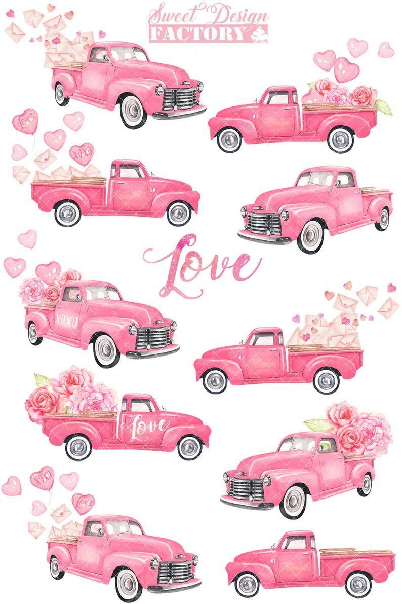 Download Valentines Truck Watercolor Clipart Vintage Pink Truck Etsy Pink Truck Clip Art Vintage Clip Art