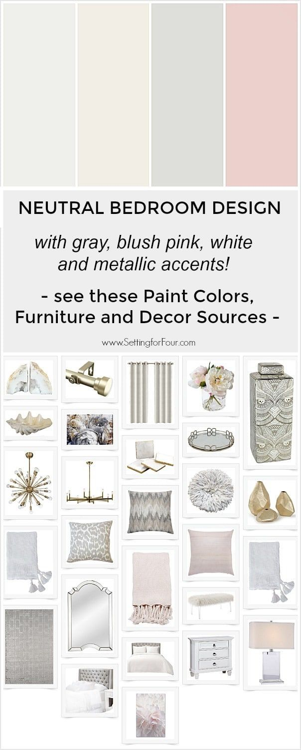 Thinking about a bedroom makeover? See this dreamy bedroom design with a color palette that combines neutral grays and whites with the trend color blush pink! Layering mixed metallics in gold and silver and beautiful textiles create an elegant and relaxing feel to the space. See all of these paint colors, furniture and decor sources. #decor #homedecor #bedroom #design #furniture
