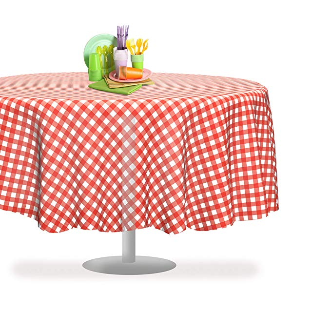 Amazonsmile Red Gingham Checkered 6 Pack Premium Disposable Plastic Picnic Tablecloth 84 Inch Round Table Co Round Table Covers Picnic Tablecloth Table Cloth