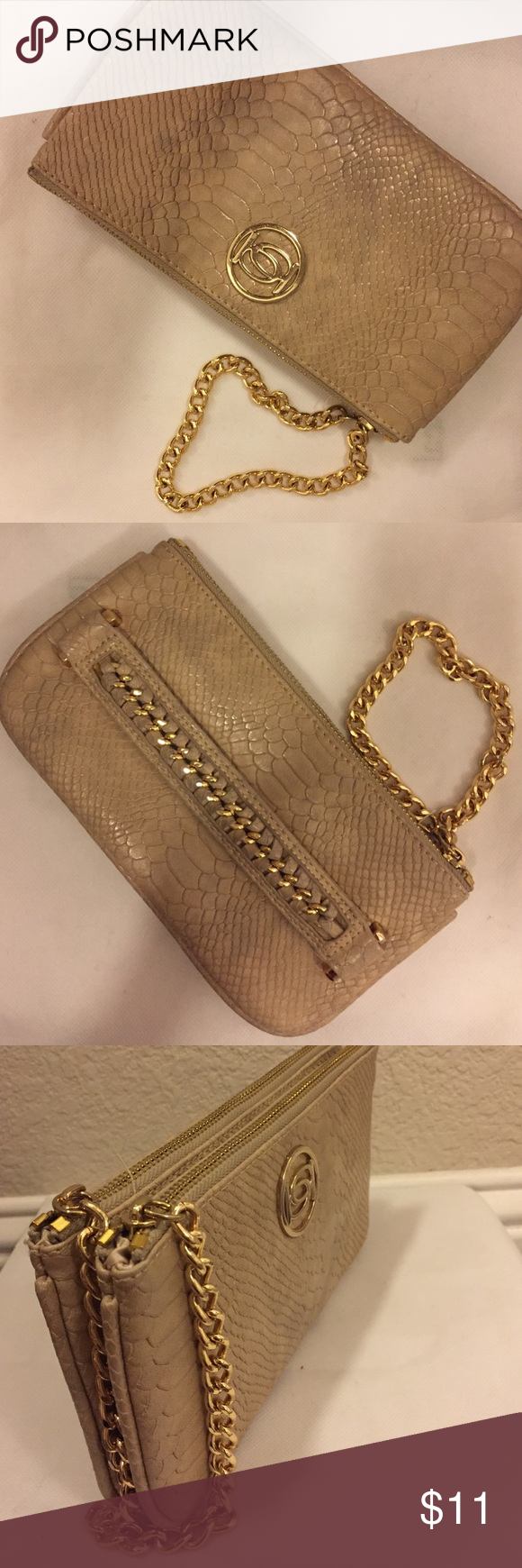 💥BLOWOUT SALE💥! BEBE clutch BEBE clutch/ writlet. Two separate pocket zipper. One side has another zippy inside. You can slide your four fingers in the slot on the side and hold it by your thighs facing out or you can just carry it by the chain bebe Bags Clutches & Wristlets