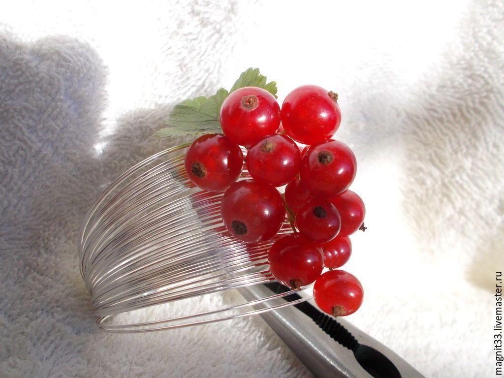 Купить Браслет Ах,смородина! - ярко-красный, браслет красная смородина, ягоды из полимерной глины.купить-dgyga@mail.ru телефон 89181726241
