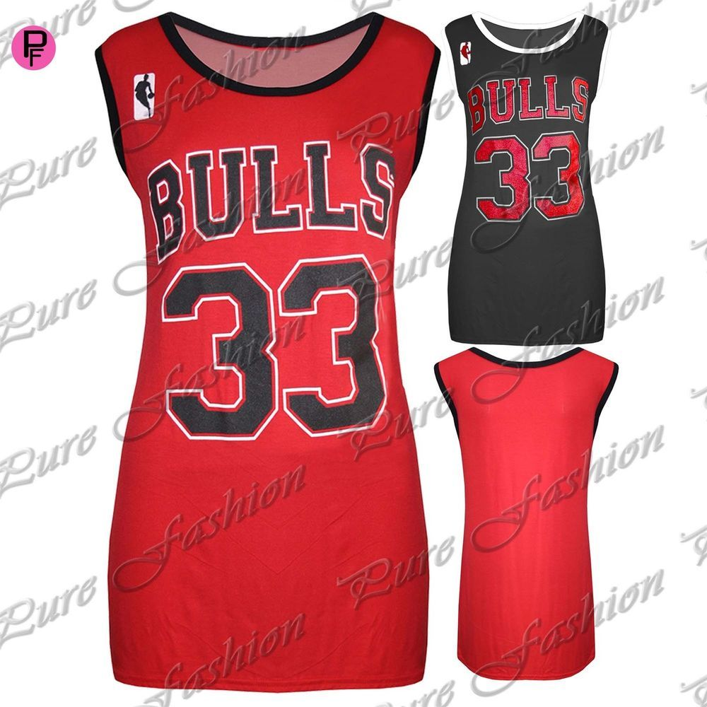 b98e208a13a Womens Ladies American Varsity Baggy Bulls 33 Basketball Jersey Vest T  Shirt Top #PureFashion