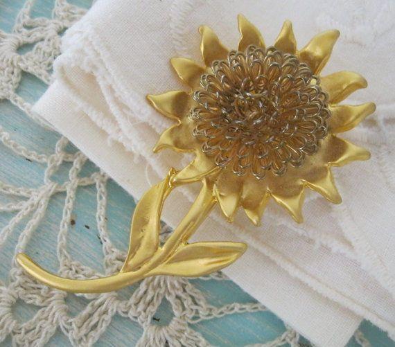 Huge Brushed Gold Sunflower Pin Looped Center  #Unbranded
