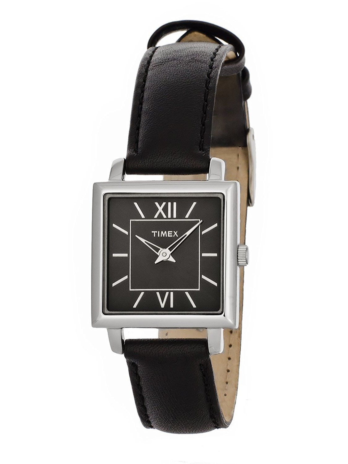 233f3df49 Timex Womens Elegant Square Black Dial Roman Numerals Black Leather Strap  Watch T2M875 -- Want additional info? Click on the image.