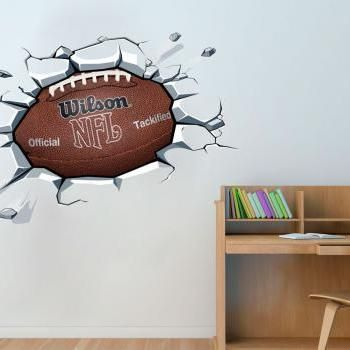 Football Ball on the Wall Decal NFL Superbowl Sticker for Boys Room ...