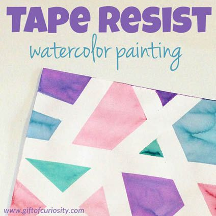 Tape Resist Watercolor Painting Kids Painting Projects Line Art