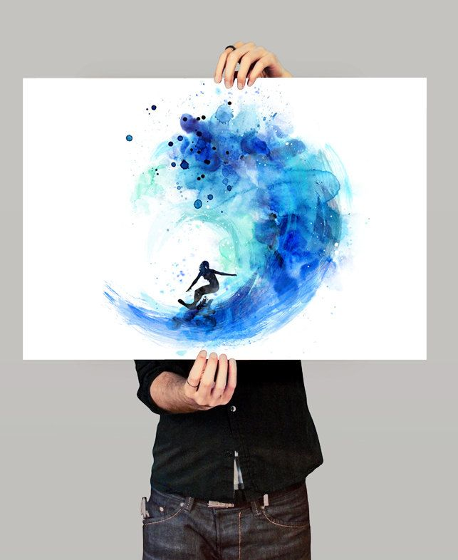De surf acuarela arte print surf acuarela acuarela arte - Dibujos para tablas de surf ...