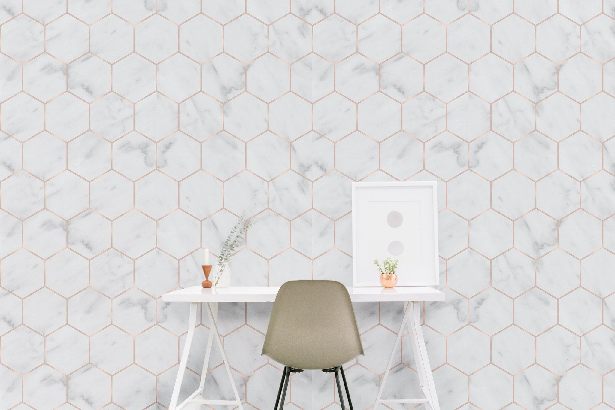 Marble Hexagon Wallpaper Hexagon Wallpaper Bathroom Wallpaper Trends Trending Decor