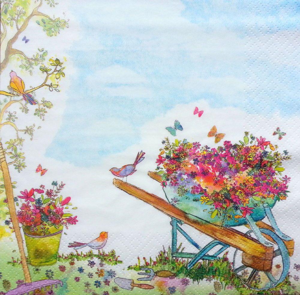 4x Paper Napkins for Decoupage Decopatch Backyard Garden