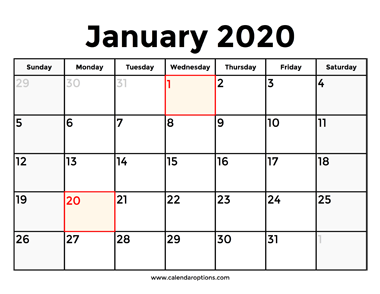 Download This January 2020 Calendar With Holidays To Know In Advance When The Next Long Weekend Will Be Holiday Calendar Printable Calendar Holiday Printables