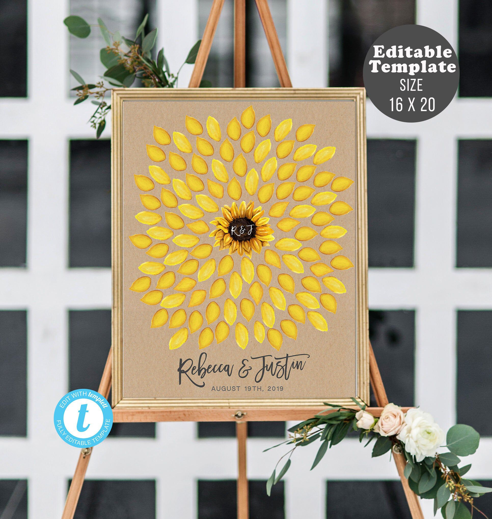 Sunflower Guest Book Alternative, Flower Guestbook