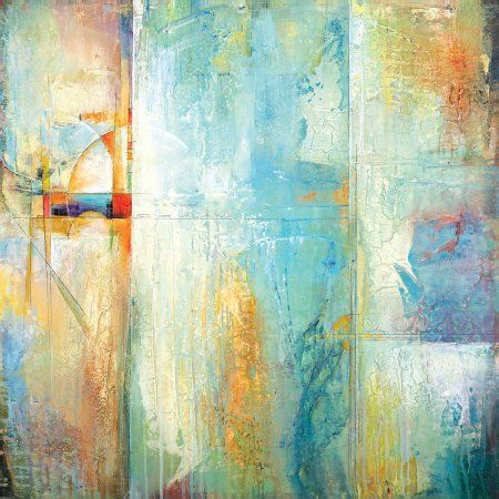Portfolio Canvas Decor Layered Blue 2 inch by Karen Hale Framed and Stretched Ready-to-Hang Wall Art, Size: Large 33 inch-40 inch, Multicolor