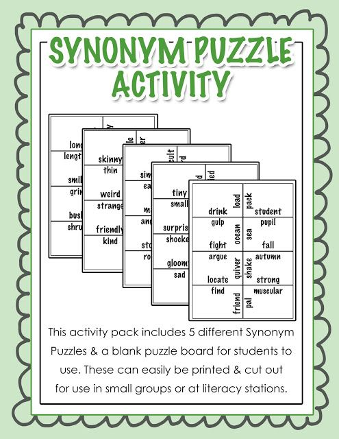 Synonym Puzzle Activity - Ideal for literacy stations or any small ...