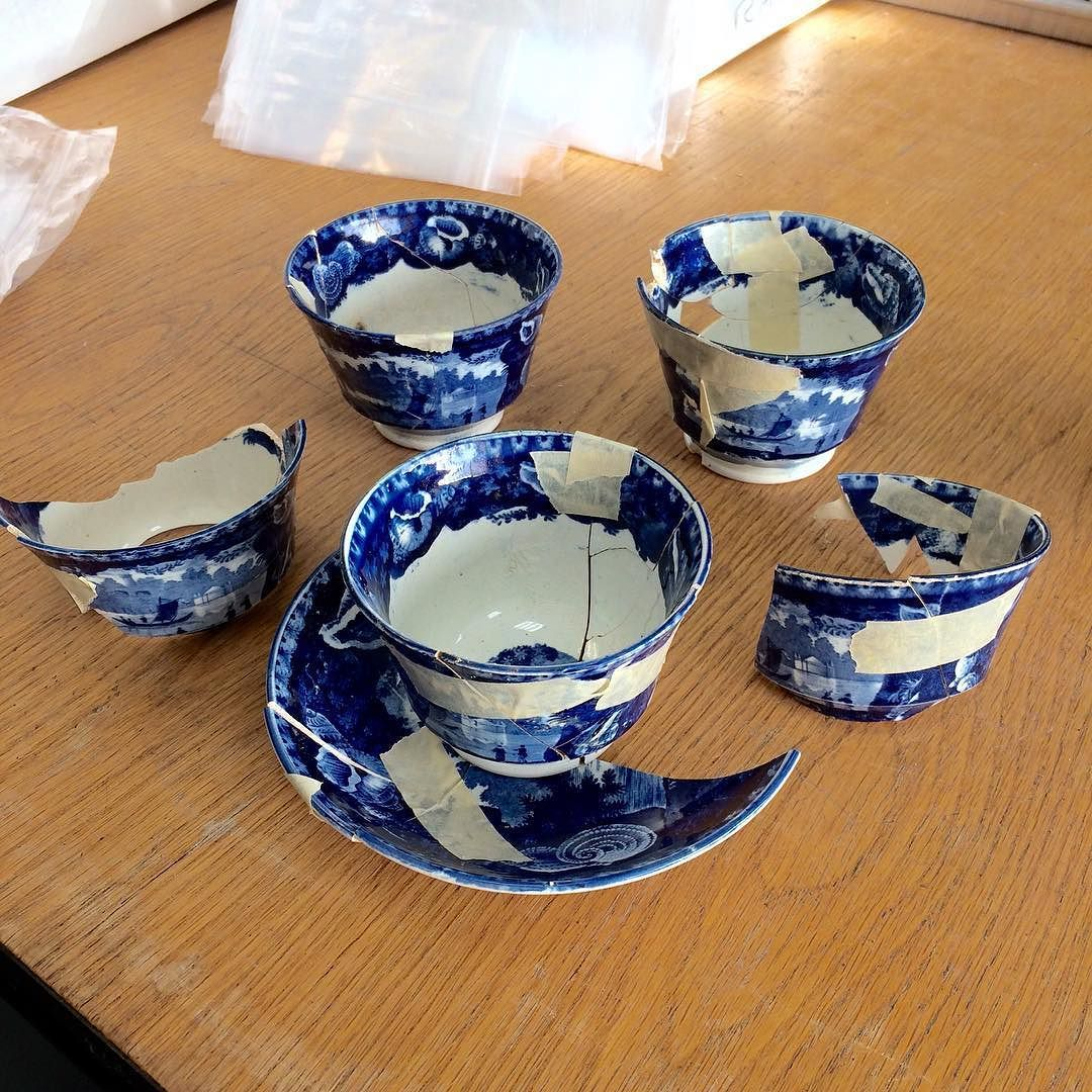 Another matching tea set from the lowest (oldest) layer of the privy associated with the wealthiest families in the Washington Garden tenement at Old North #archaeology #boston #dignorth #digbos