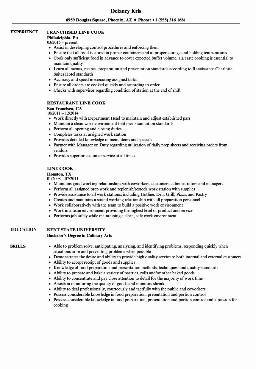 Line Cook Resume Example Awesome 14 15 Prep Cook Resume Objective Good Resume Examples Nursing Resume Examples Job Resume Samples