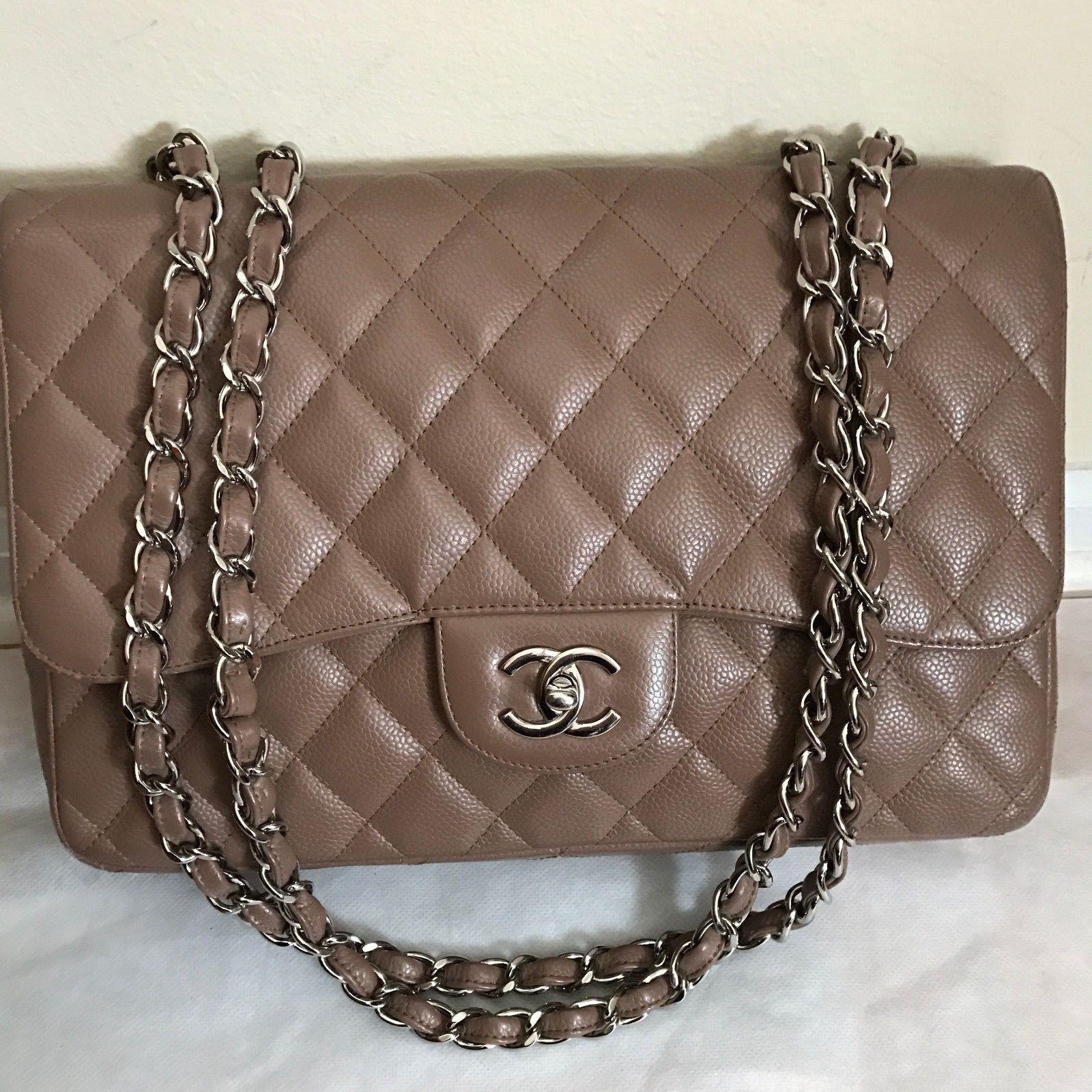 c126146bda83 Authentic Chanel Brown Caviar Jumbo Classic 2.55 Single Flap Bag $2799.0