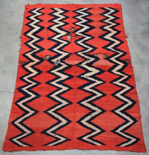 Antique Navajo Indian Blanket Rare Bayetta Red Indigo Blue Homespun Transitional Ebay