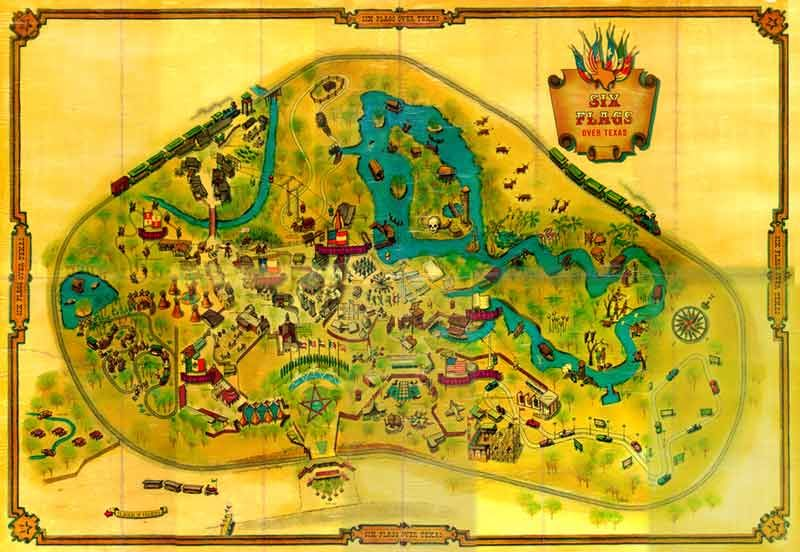 Map Of Six Flags Over Texas Opening Season 1961 Six Flags Over Texas Six Flags Theme Park Map