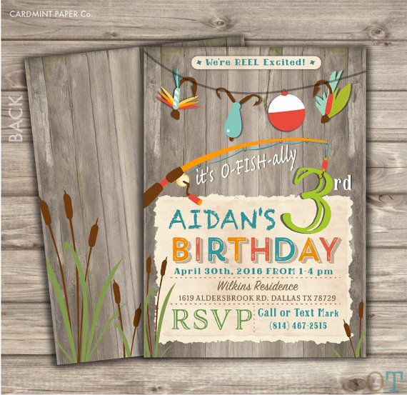 Fishing Birthday Party Package Rustic Boy Catch of the by cardmint