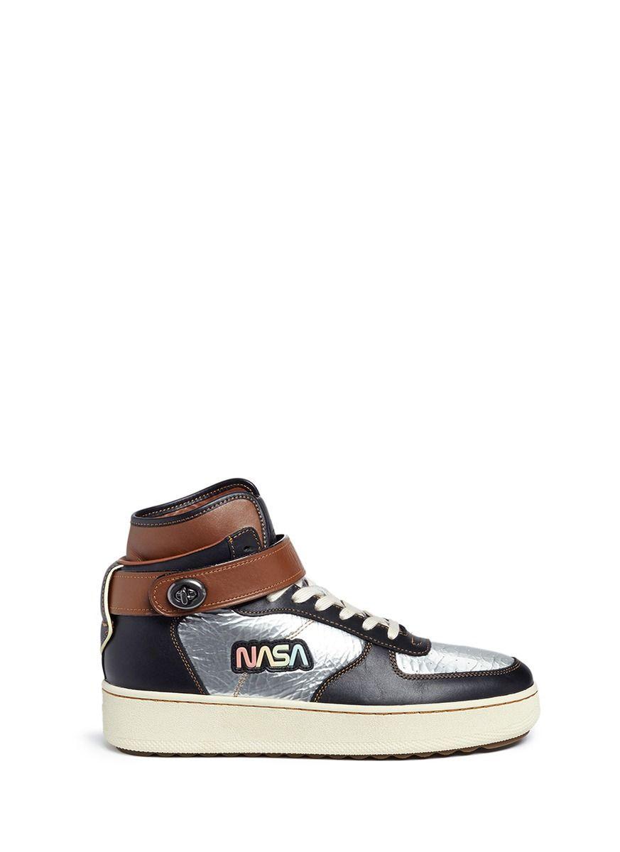 d73685073640 COACH  C210  NASA patch metallic high top sneakers.  coach  shoes ...