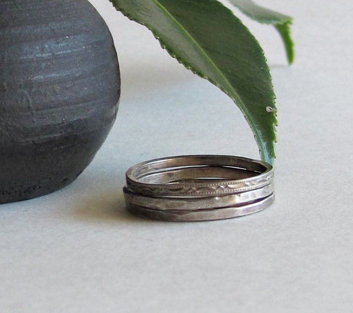 Sterling Silver Mixed Stacking Rings - Free Shipping on Domestic Orders