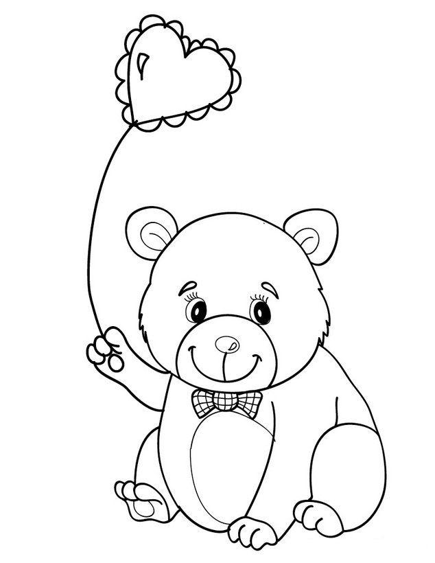 Osito enamorado hd Dibujos para colorear de animales enamorados