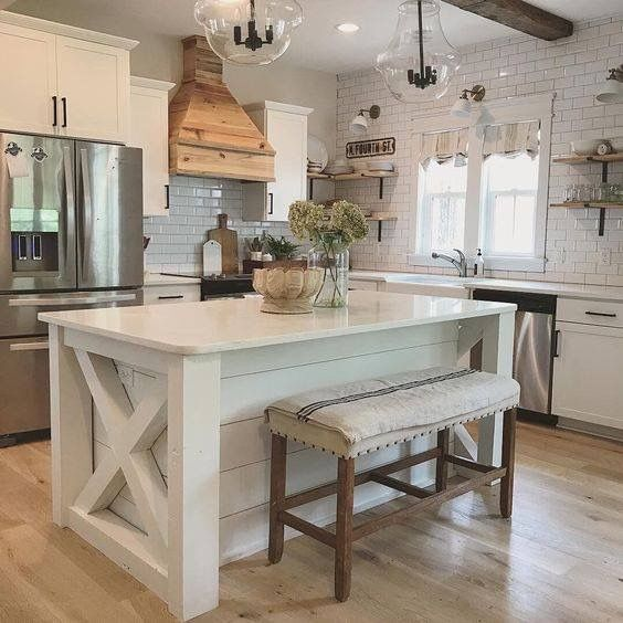 Love The Barn Style End Of The Kitchen Island Farmhouse Kitchen