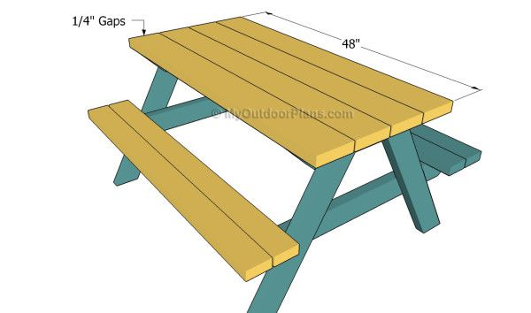 attaching the tabletop fh picnic table plans kids picnic table rh pinterest com