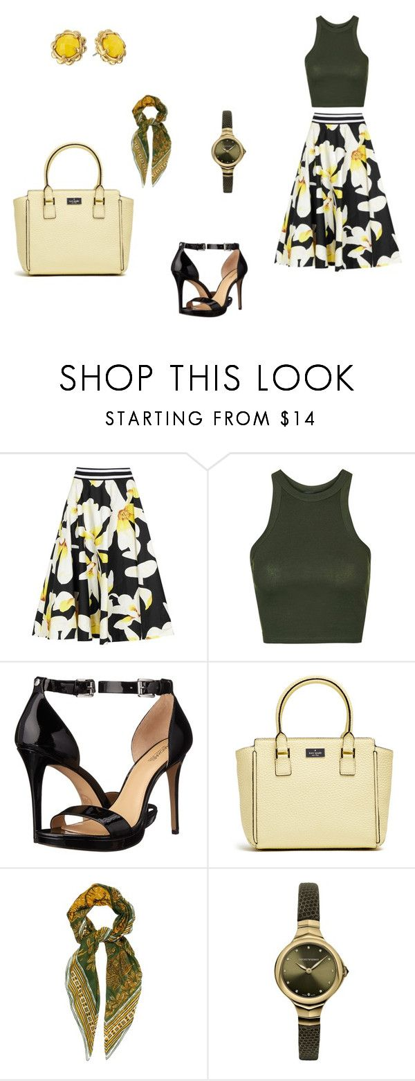"""""""Green, Black and Yellow"""" by lilyandjunellc ❤ liked on Polyvore featuring Alice + Olivia, Topshop, MICHAEL Michael Kors, Valentino, Emporio Armani and Kate Spade"""