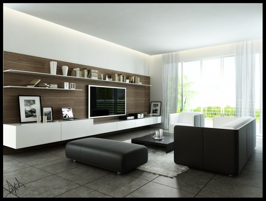 Modern Monochromatic Living Room With Wood Wall Panel And Dark