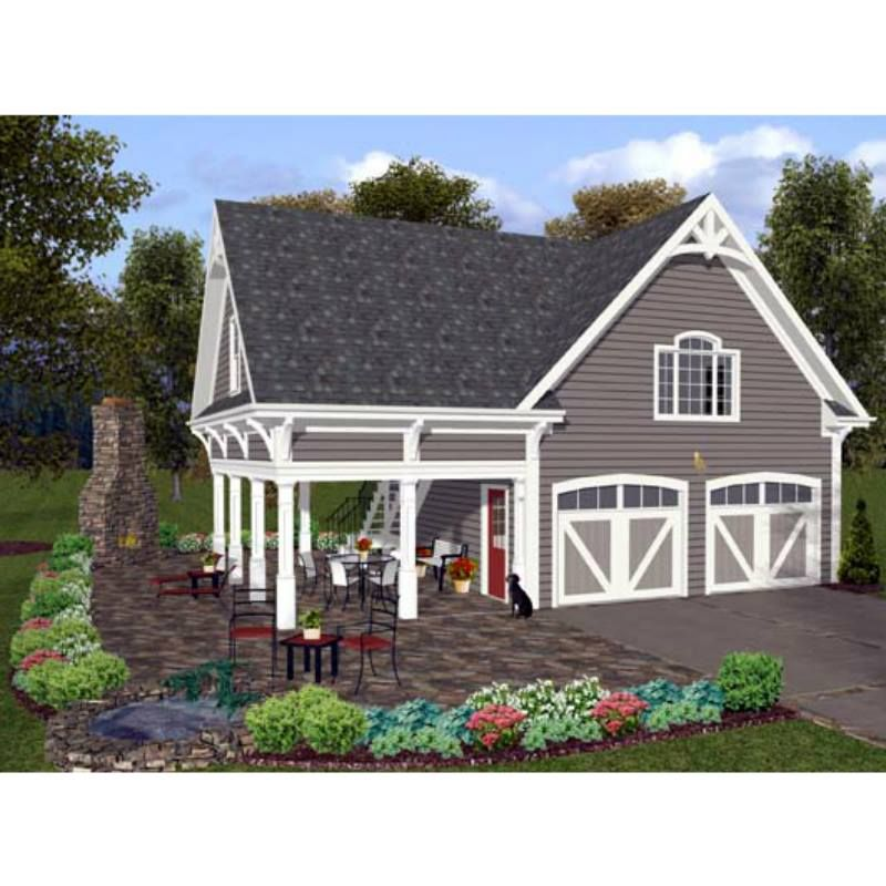 Traditional Style 2 Car Garage Apartment Plan Number 74803 With 1
