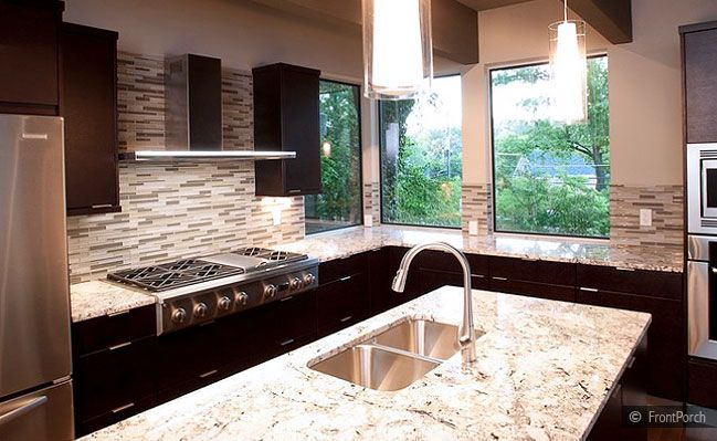 Modern Kitchen Backsplash Dark Cabinets modern backsplash tile espresso cabinet gold countertop | kitchen