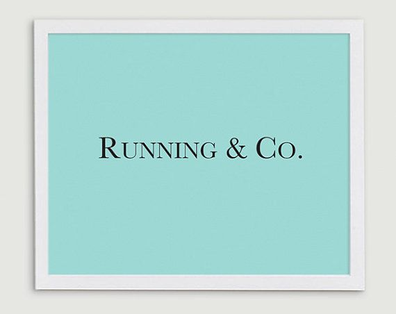 Runner Gift - Running and Co - Tiffany Blue Typography Art Print  - 8x10 on Etsy, $15.00