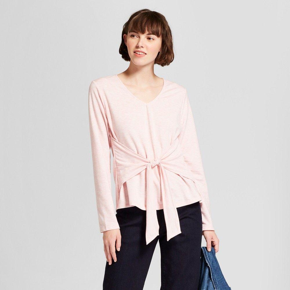 44bed03138 Expect More. Pay Less. Women s Long Sleeve Front Tie Top - A New Day ...