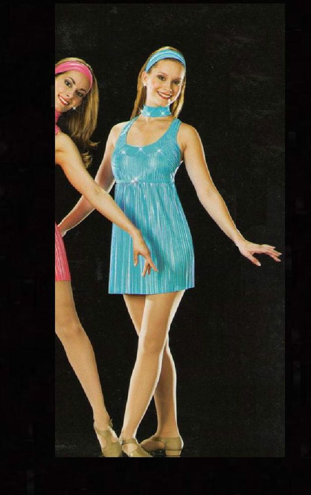 ONE FOR THE ROAD Ice Skating Art Stone BLUE Dress Dance Costume Adult Small & CL