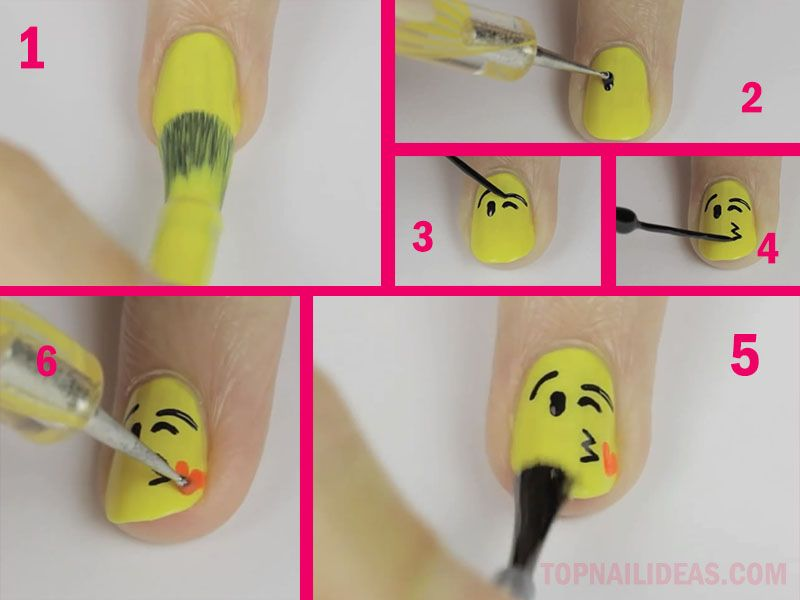 Blowing kiss emoji nail art doing this right now...!!!!!! | Eserurm ...