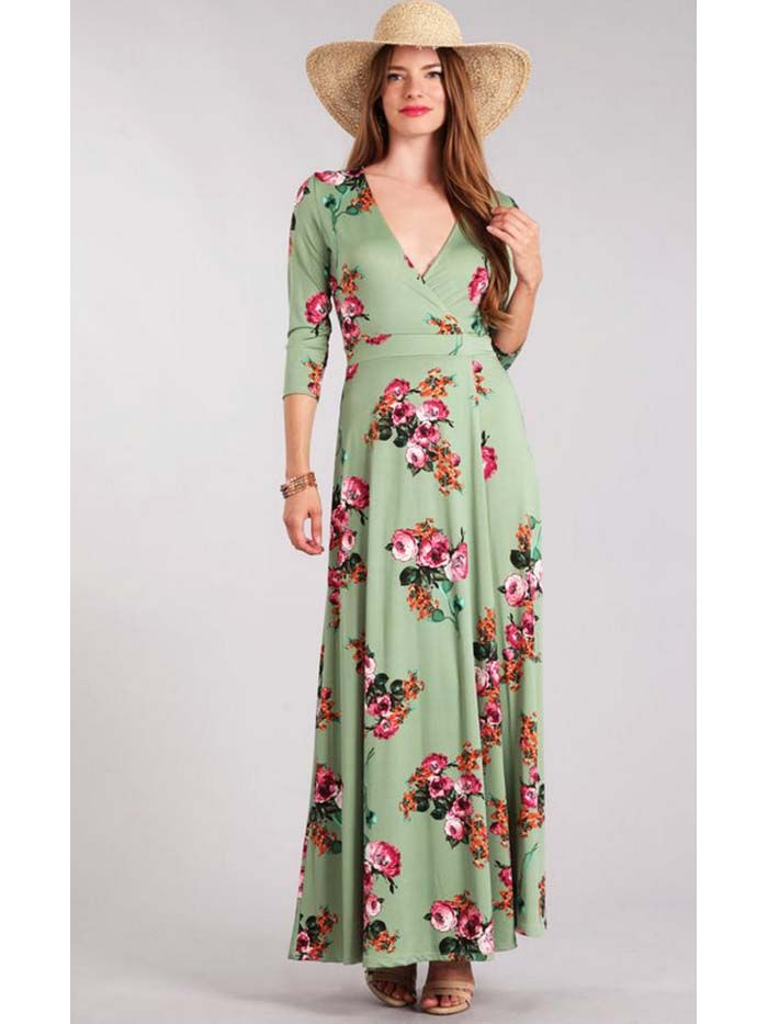 3241f06a7c3 Sage Green Romantic Floral Print Wrap Maxi Dress in 2019