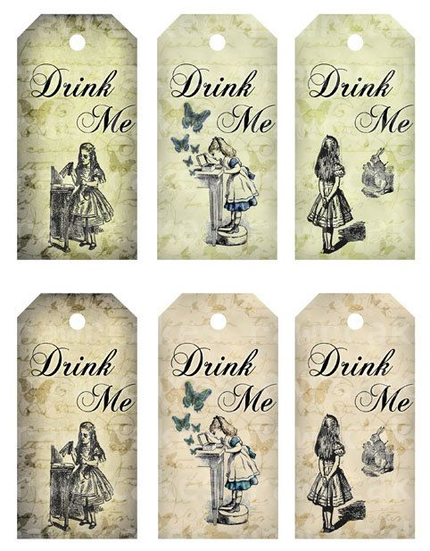 Drink me 2x4 in vintage alice in wonderland tags digital for Alice in wonderland tags template