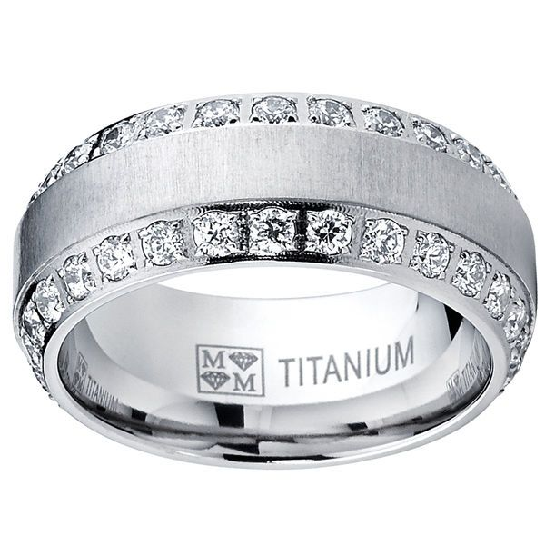Men's Round Cut Cubic Zirconia Brushed Titanium Band Order by 2/5 For Valentines #Oliveti #Band