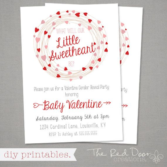 Valentineu0027s Day Gender Reveal Party by TheRedDoorCreations on Etsy - valentines day invitations