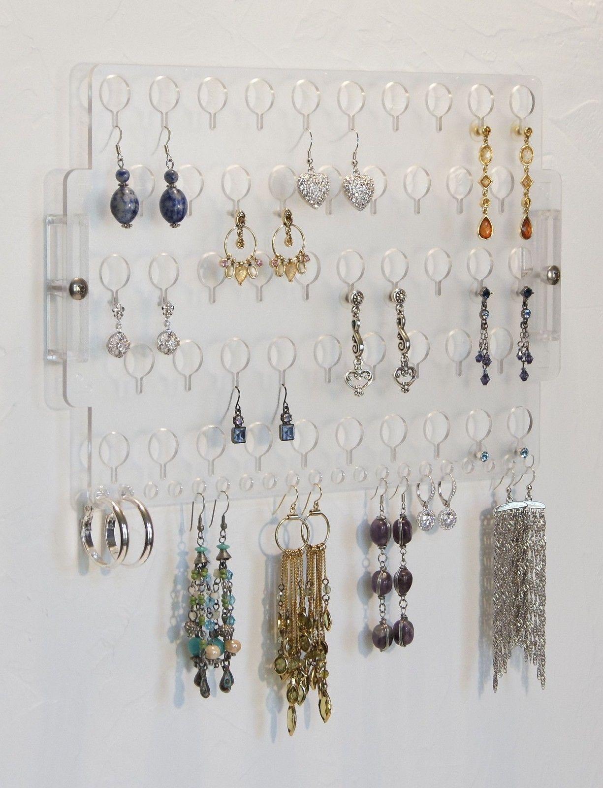 Wall Earring Holder Hanging Jewelry Organizer Closet Storage Rack